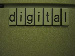 image of digital spelt using scrabble tiles