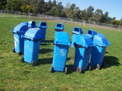Blue rubbish bins in a circle