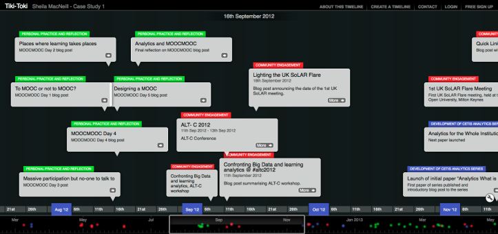 time line screen shot