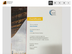 Picture of HEA certificate